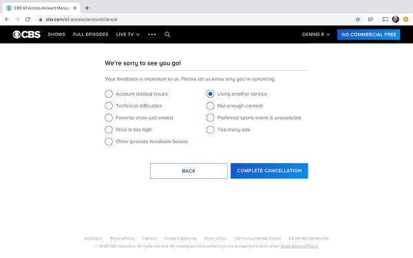 CBS All Access Cancellation Confirmation